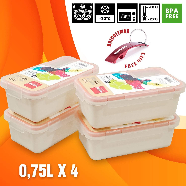 Bricolemar Tupper Valira Porta Alimentos Pack Ahorro (Edición Especial con Llavero Destapador (4, 0,75 litros): Amazon.es: Hogar