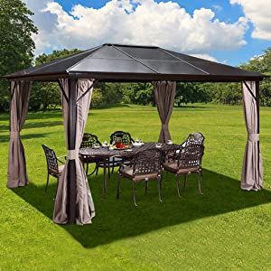 YOLENY 10'x12' Outdoor Hardtop Polycarbonate Gazebo Canopy Curtains Aluminum Frame with Netting for Garden,Patio