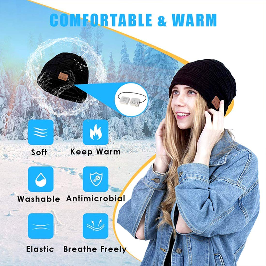 1pcs Black EDDORUNNING Bluetooth hat 5.0 Wireless Beanie Headset Wireless Rechargeable Headphones Running Cap with Stereo Speakers /& Mic Unique Tech Warm Soft Cap for Men and Women