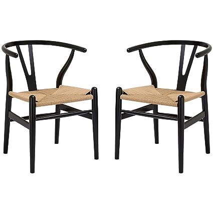 Poly And Bark Wegner Wishbone Style Chair, Black, Set Of 2