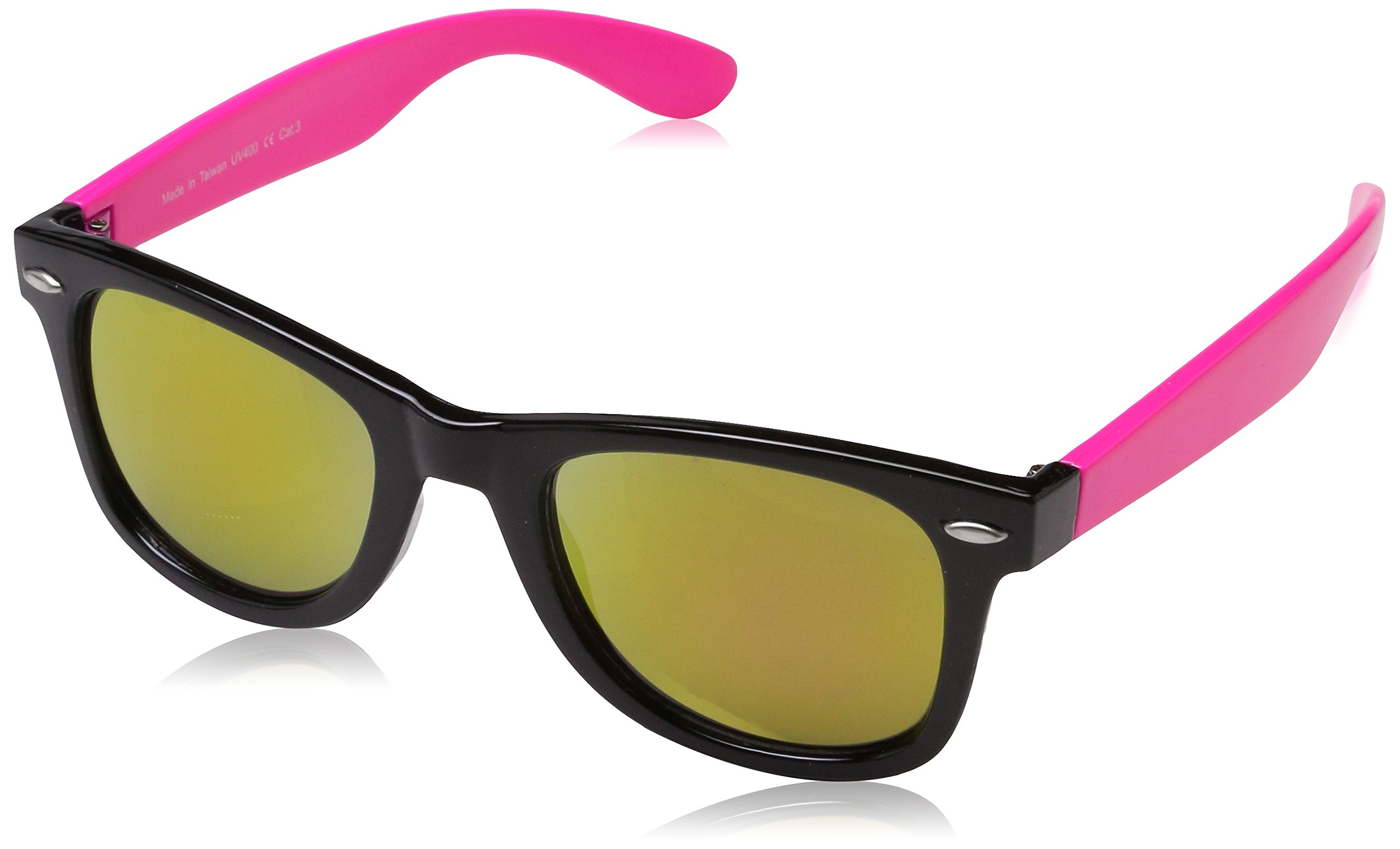 Real Shades Swag Sunglasses for Adults - 100% UVA UVB Protection, Polycarbonate Mirror Lenses, Unbreakable, Iconic 80s Style (Black/Neon Pink, Pink Mirror Lens)