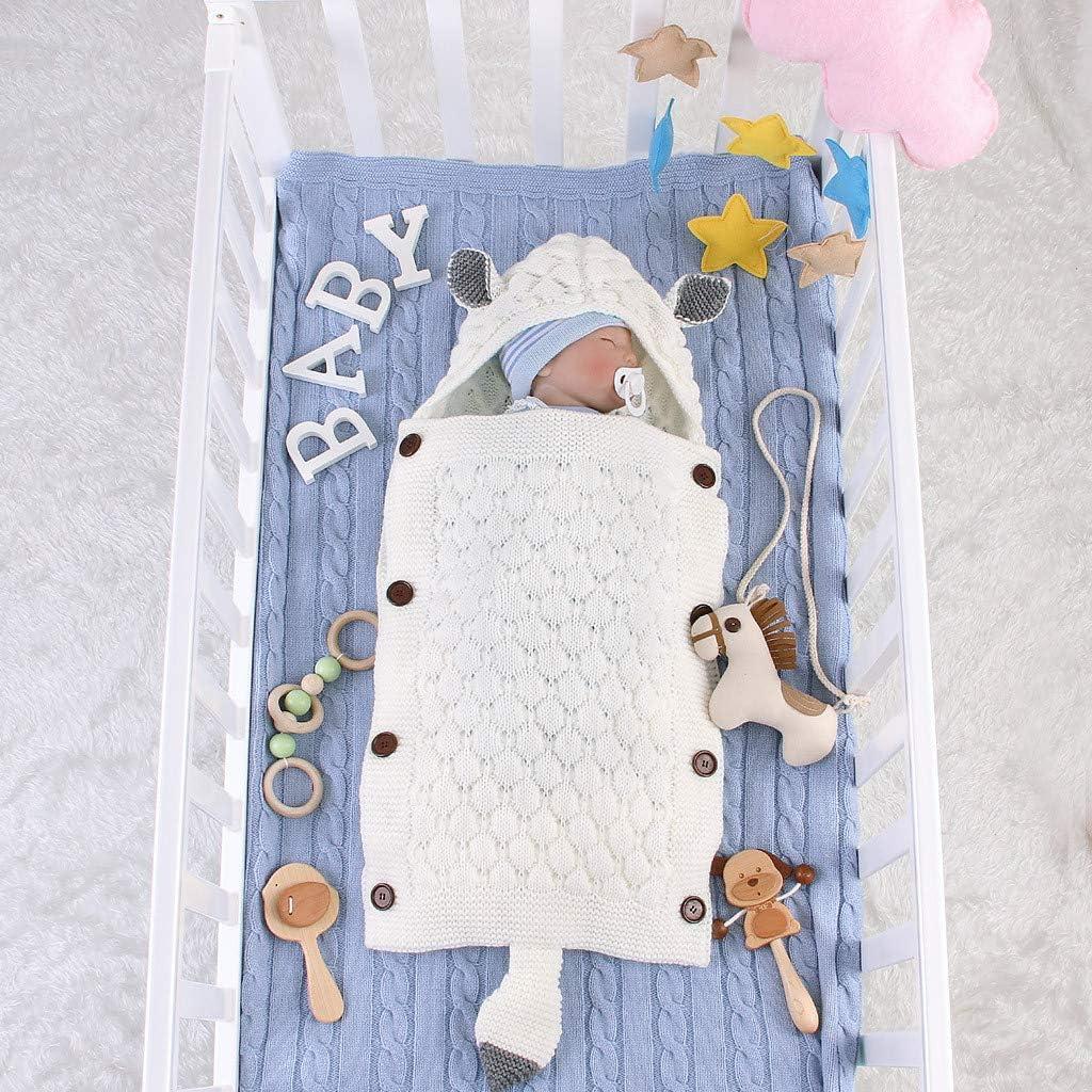 Schlafs/äcke Baby Herbst Winter Neugeborenes Baby Unisex Warme Gestrickt Wickeln Swaddle Decke Kinderwagen Schlafsack f/ür 0-12 Monate