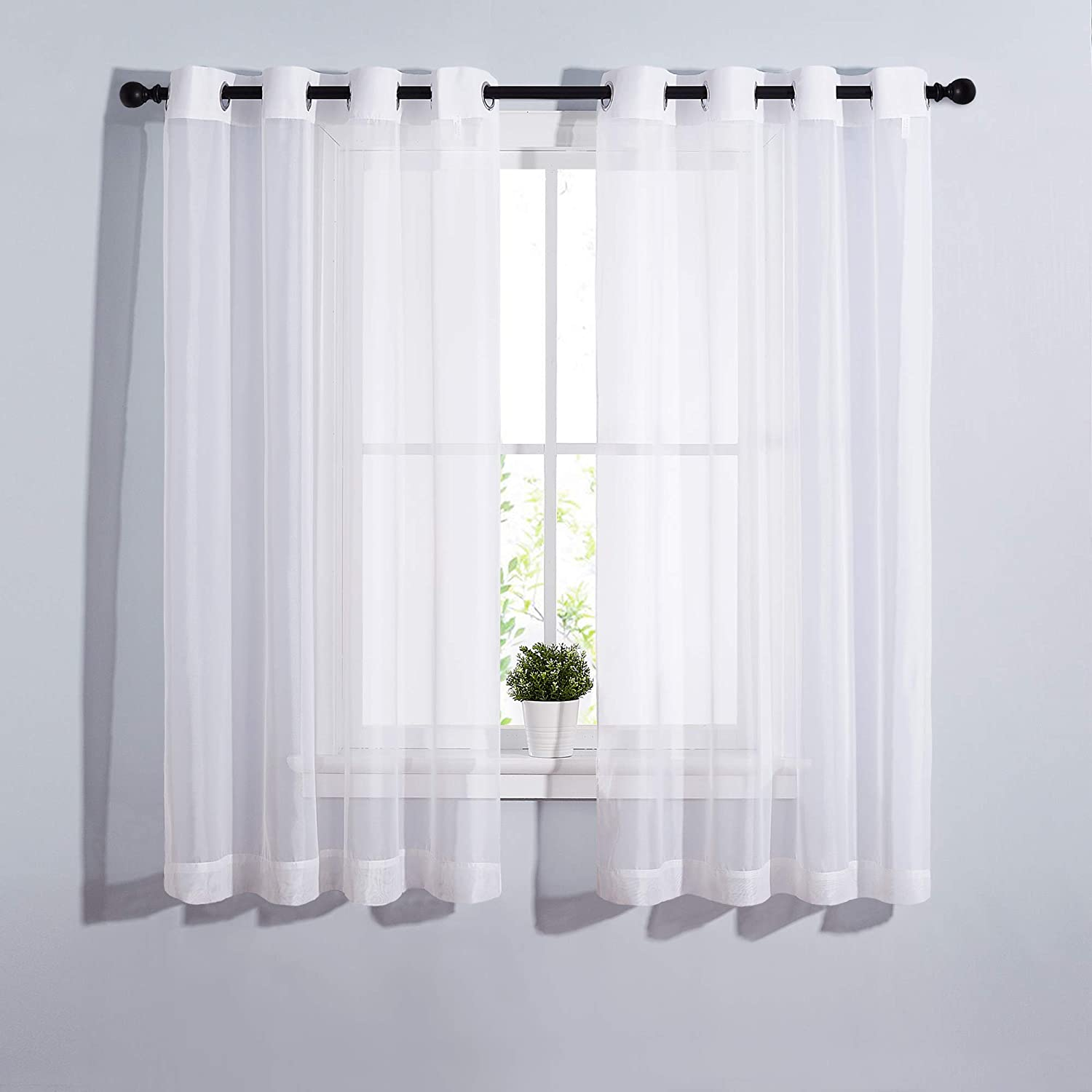 NICETOWN Sheer Window Panel Curtains - Grommet Top Gauzy Sheer Drapes Lightweight Breathable Panels for Windows (2-Pack, 54 Wide x 63 inch Long, White)