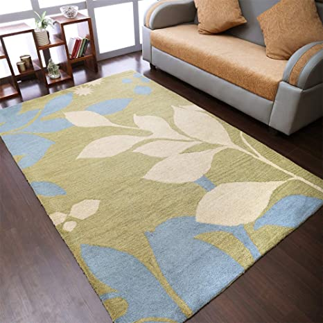 Rugsotic Carpets Hand Tufted Wool 8 X11 Area Rug Floral Green K00719 Kitchen Dining
