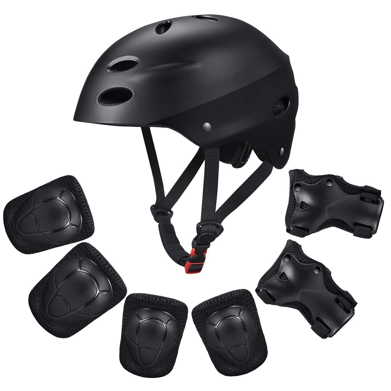 Kid's Protective Gear Set,Child Helmet Knee Pads Elbow Pads Wrist Guards for Skateboard/Skate/Roller/Skateboard. (Black)