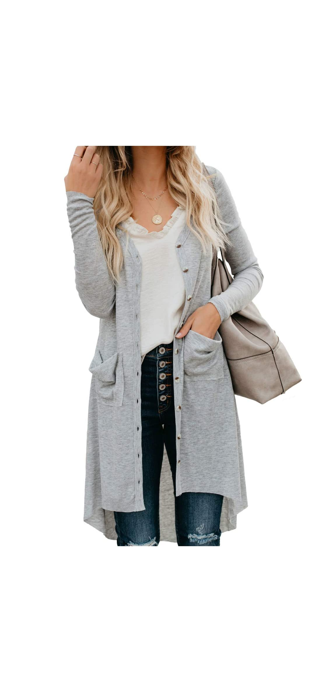 Women Button Down Long Sleeve Solid Cardigan Sweaters Knit