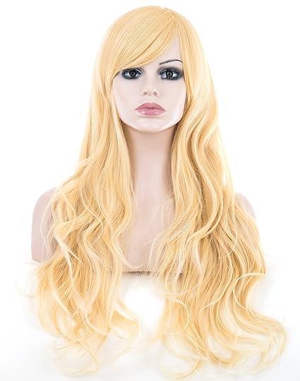 Spretty Largo con encanto ondulado grandes pelucas onduladas con flequillo oblicua para el partido de traje