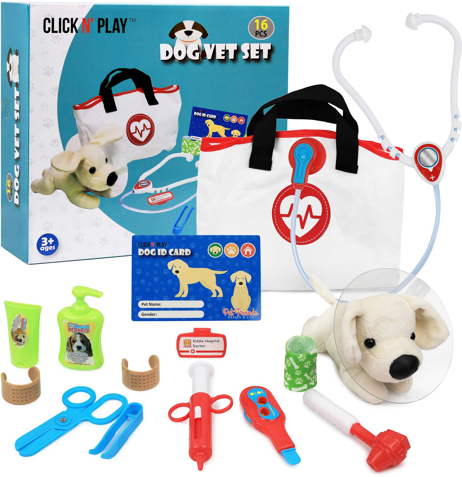 Click N' Play Pretend Play Pet Examine and Treat Vet Veterinary Doctor Play Set for Animal Pets Dogs 16 Pieces by Click N' Play