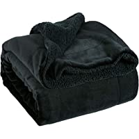 Bedsure Black Sherpa Throw Fleece Blanket Plush Throw Blanket Fuzzy Soft Blanket Microfiber