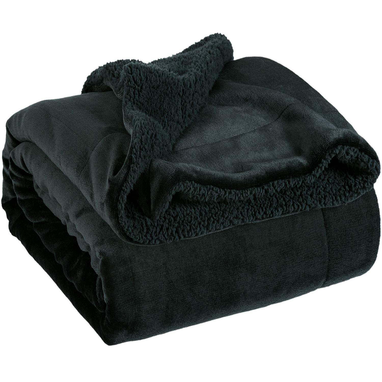 Bedsure Sherpa Fleece Blanket Twin Size Black Plush Throw Blanket Fuzzy Soft Blanket Microfiber