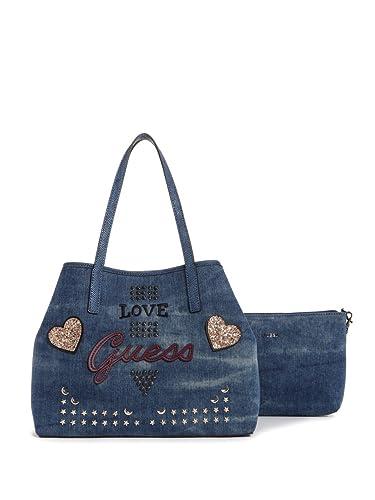 timeless design c0e6b 6d5df Guess Errate Vikky, Tasche für Damen, U, Blue Denim: Amazon ...