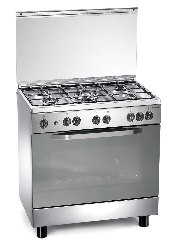 Cucina a gas 80x50x85 cm inox 5 fuochi con forno elettrico - Regal ...
