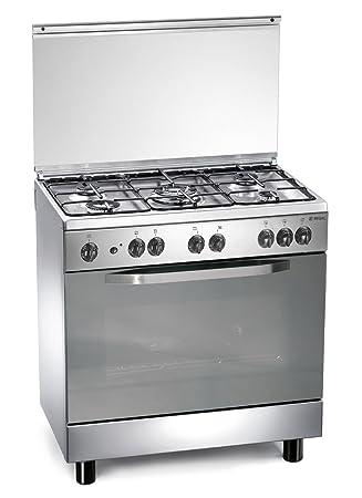 cucina a gas 80x50x85 cm inox 5 fuochi con forno elettrico - regal ... - Cucina 5 Fuochi Forno Elettrico