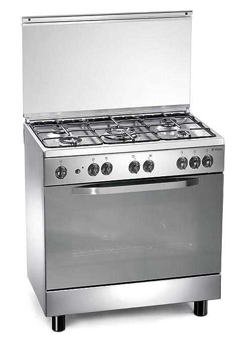 Cocina de gas 80x50x85 cm inoxidable con 5 quemadores y horno ...