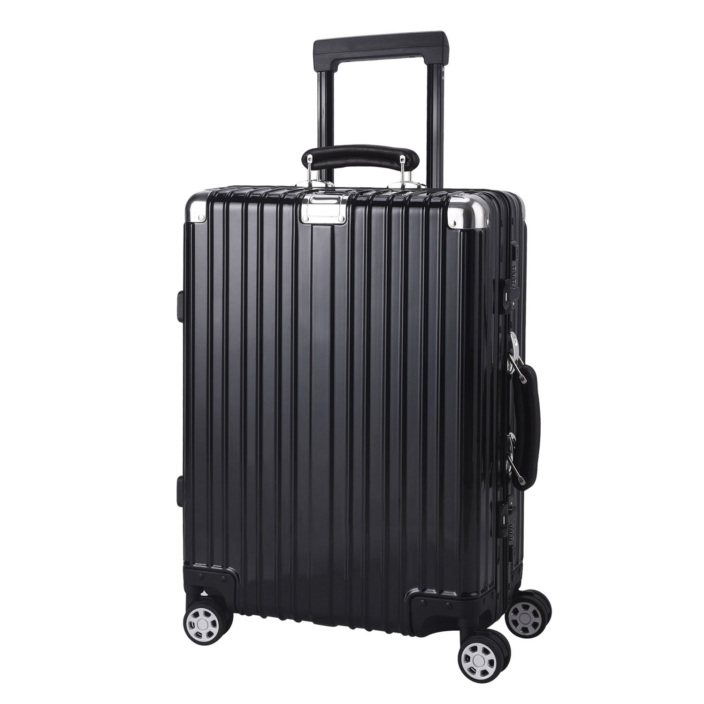 Surblue スーツケース TSAロック 旅行 ビジネス 軽量 鏡面仕上げ B079JX4CVH  ブラック M