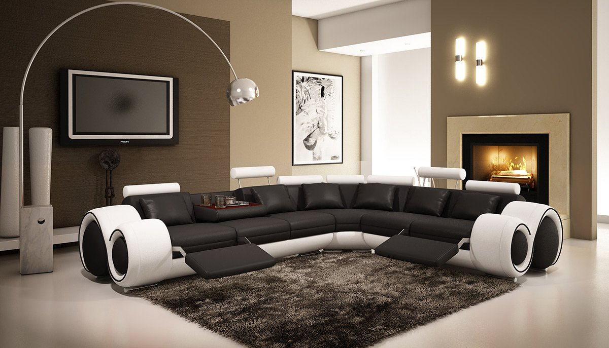Amazon 4087 Black & White Bonded Leather Sectional Sofa With