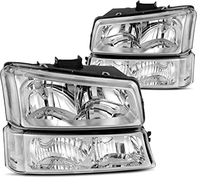 OEDRO Compatible with 2002-2006 Chevy Avalanche Pickup Headlight with Amber side Black Housing Bumper Lights