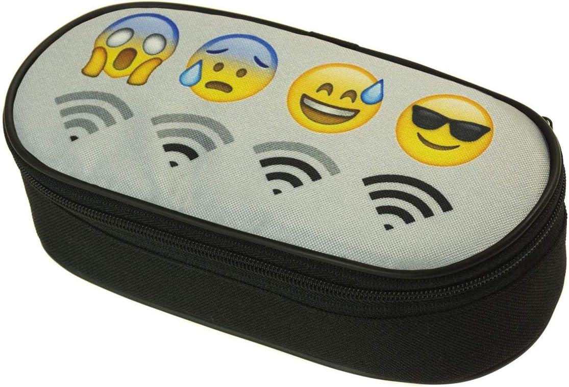 Estuche Oval Single Estuche organizador ovalado medallas caja de lápices de la escuela Emoji Wifi [086]: Amazon.es: Oficina y papelería