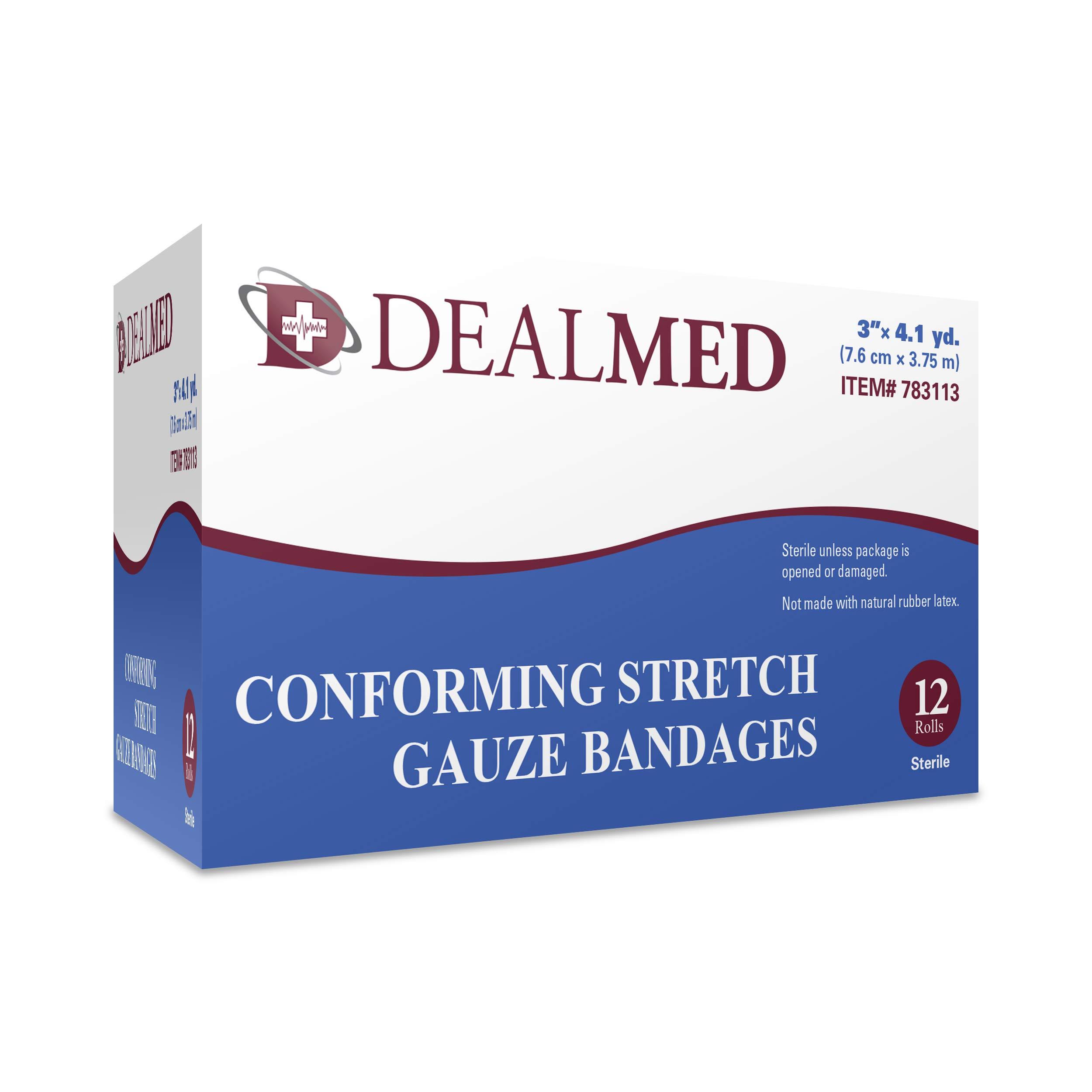 Dealmed 3'' Sterile Conforming Stretch Gauze Bandages, 4.1 Yards Stretched, 12 Rolls