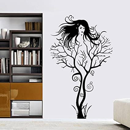 Amaonm Fashion Black Tree Vine And Black Beautiful Sexy Girl Wall Decals Removable Vinyl Home Decoration Art Decor Wall Stickers Murals Decorative