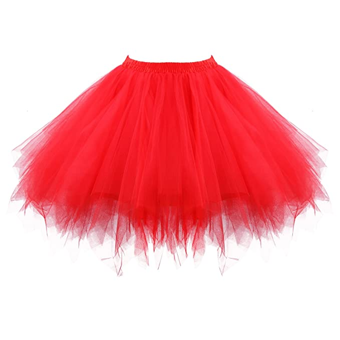 5a30fd983 Acecharming Girl's Ballet Tutu Skirts Tulle Bubble Classic Prom Ball  Layered Underskirt(Red