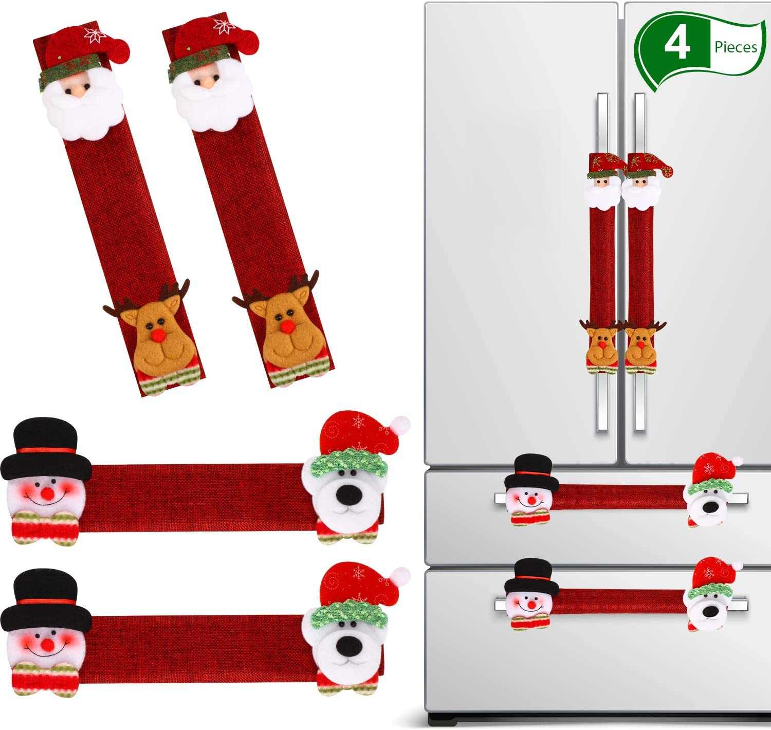 4 Pieces Christmas Refrigerator Door Handle Cover, Snowman Kitchen Appliance Microwave Oven Dishwasher Handle Cover for Christmas Decorations (Dark Red Christmas)