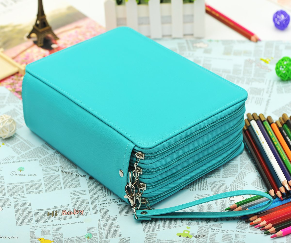 YOUNGCOL 184 Slots Colored Pencil Organizer - Deluxe PU Leather Pencil Case Holder (Green)