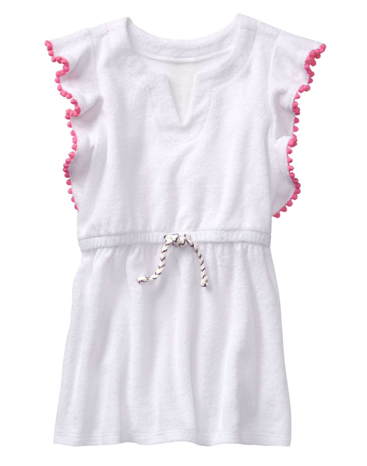 Gymboree Toddler Girls' Swim Cover up with Bobble Trim, White, 2T