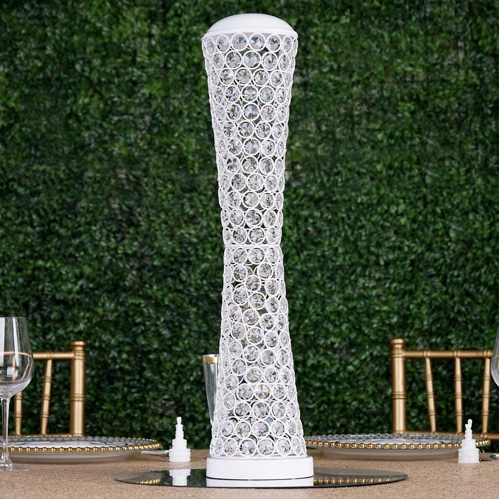 Efavormart 24'' Tall Elegant Tall Hurricane Beaded Crystal Vase Wedding Centerpiece