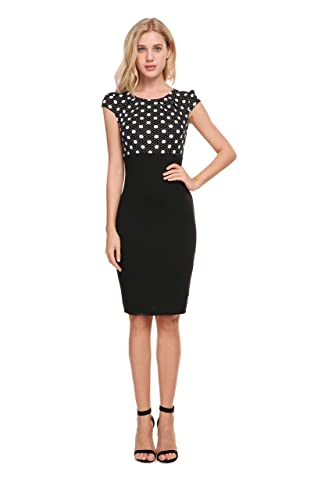 CerisiaAnn Women's Pencil Dress Cap Sleeve Midi Office Lady Formal Wear