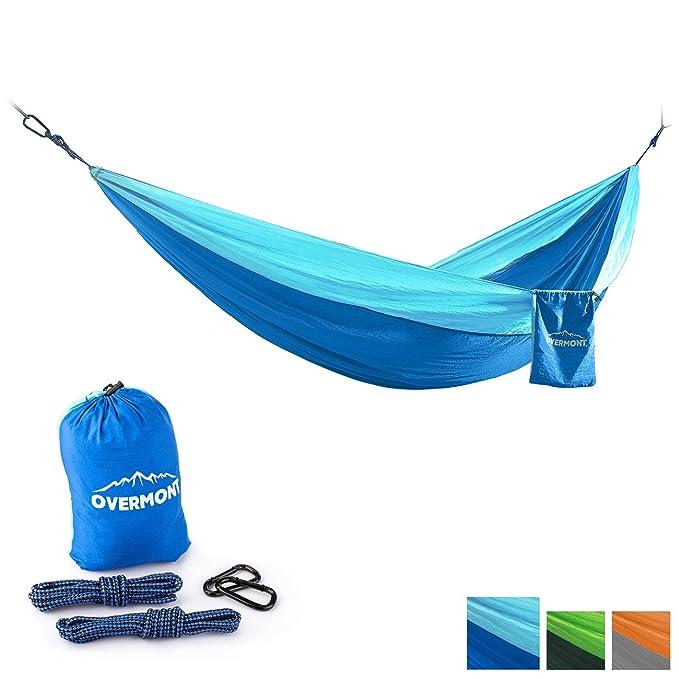 Overmont 300x200cm hamaca colgante portatil ligero para senderismo, viajes, playa, patio, jardín, camping, deporte al aire libre, resistencia de 300KG ...