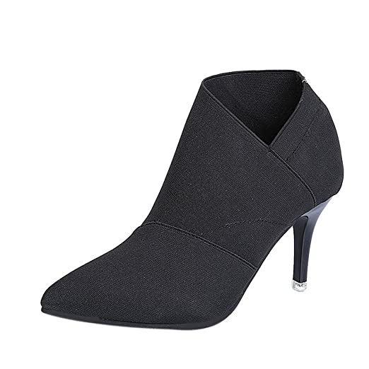 b7deb7907a39 Amazon.com  Gyoume High Heel Lady Ankle Boots Shoes Women Black ...