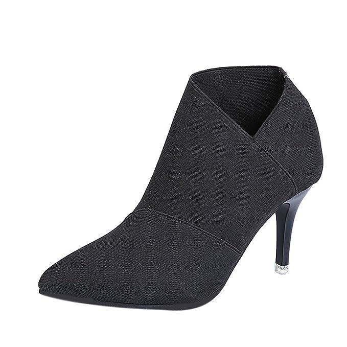 Amazon.com: Gyoume Zapatos de tacón alto para mujer, botas ...