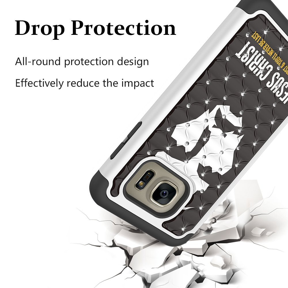 Galaxy S7 Edge Case, MagicSky [Shock Absorption] Studded Rhinestone Bling Hybrid Dual Layer Armor Defender Protective Case Cover for Samsung Galaxy S7 Edge(Jesus)