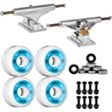 "Independent Silver 139mm Truck 8.0"" Package Skateboard Bones 100's Wheels 53mm mm Abec 7 Bearings"