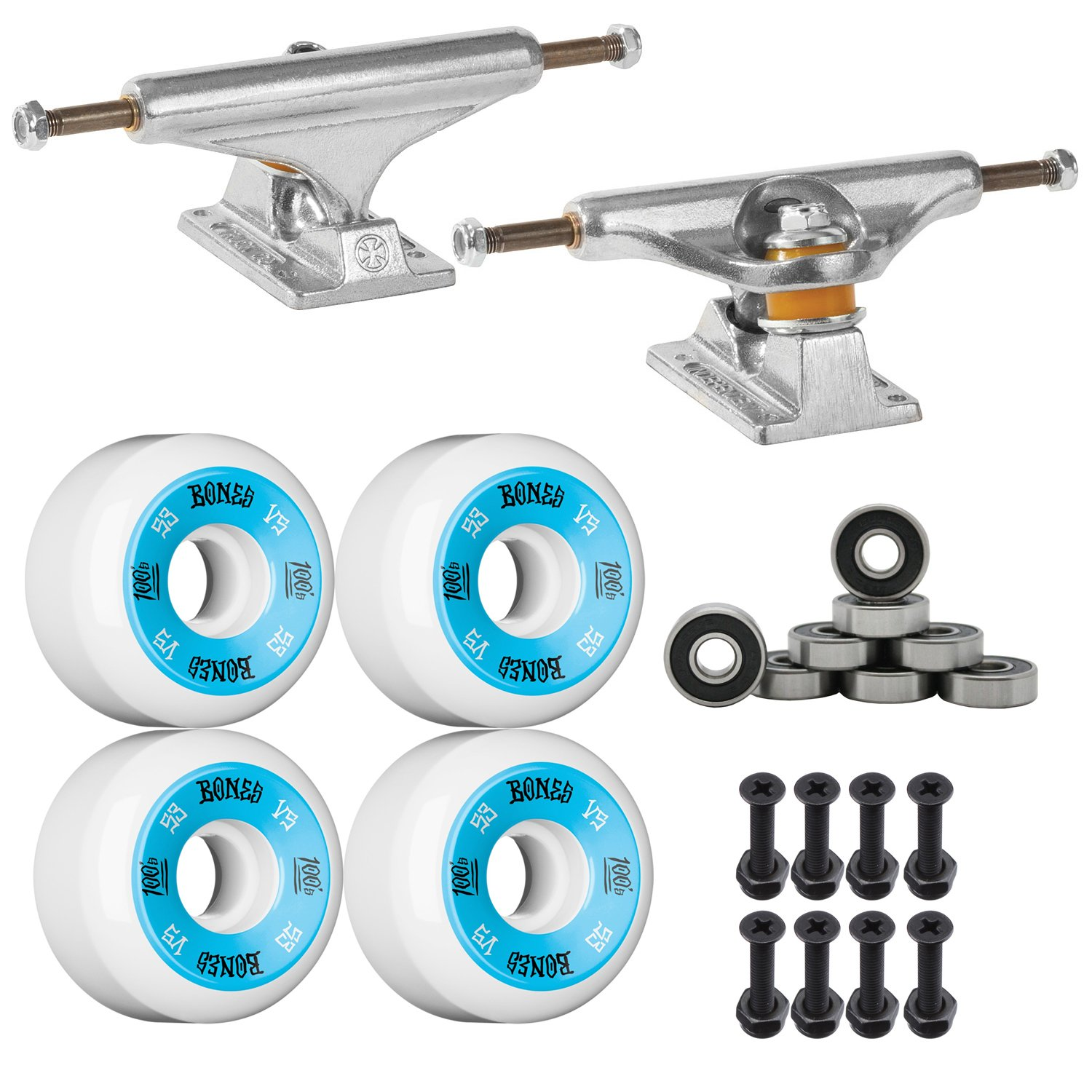 Independent Silver 149mm Truck Package Skateboard Bones 100's Wheels 53mm mm Abec 7 Bearings by Independent   B00HBGXDU0