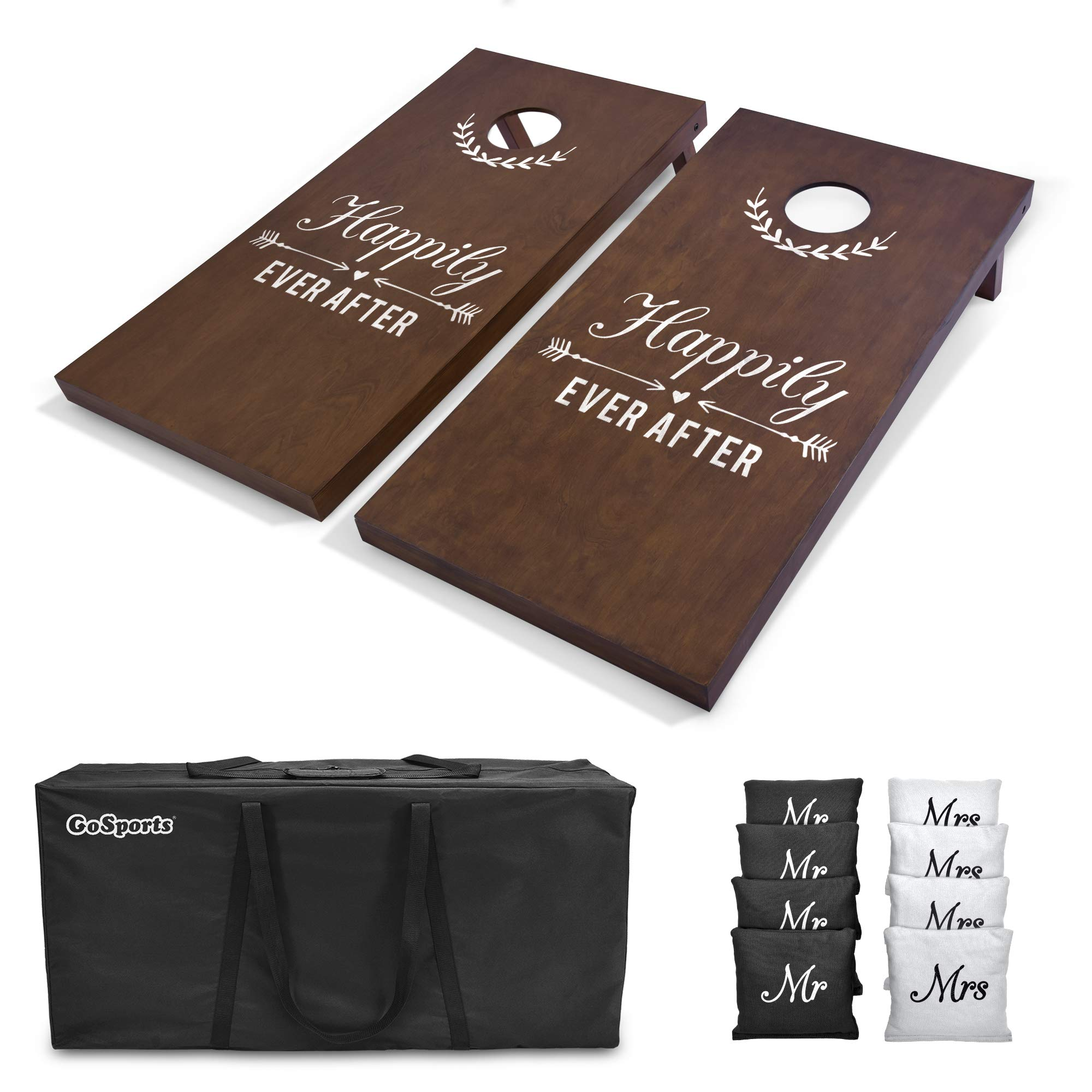 GoSports Wedding Cornhole Set | Regulation 4'x2' Size  Solid Stained Wood with Carrying Case and Bean Bags (Choose Your Colors) - Match The Wedding Theme! by GoSports