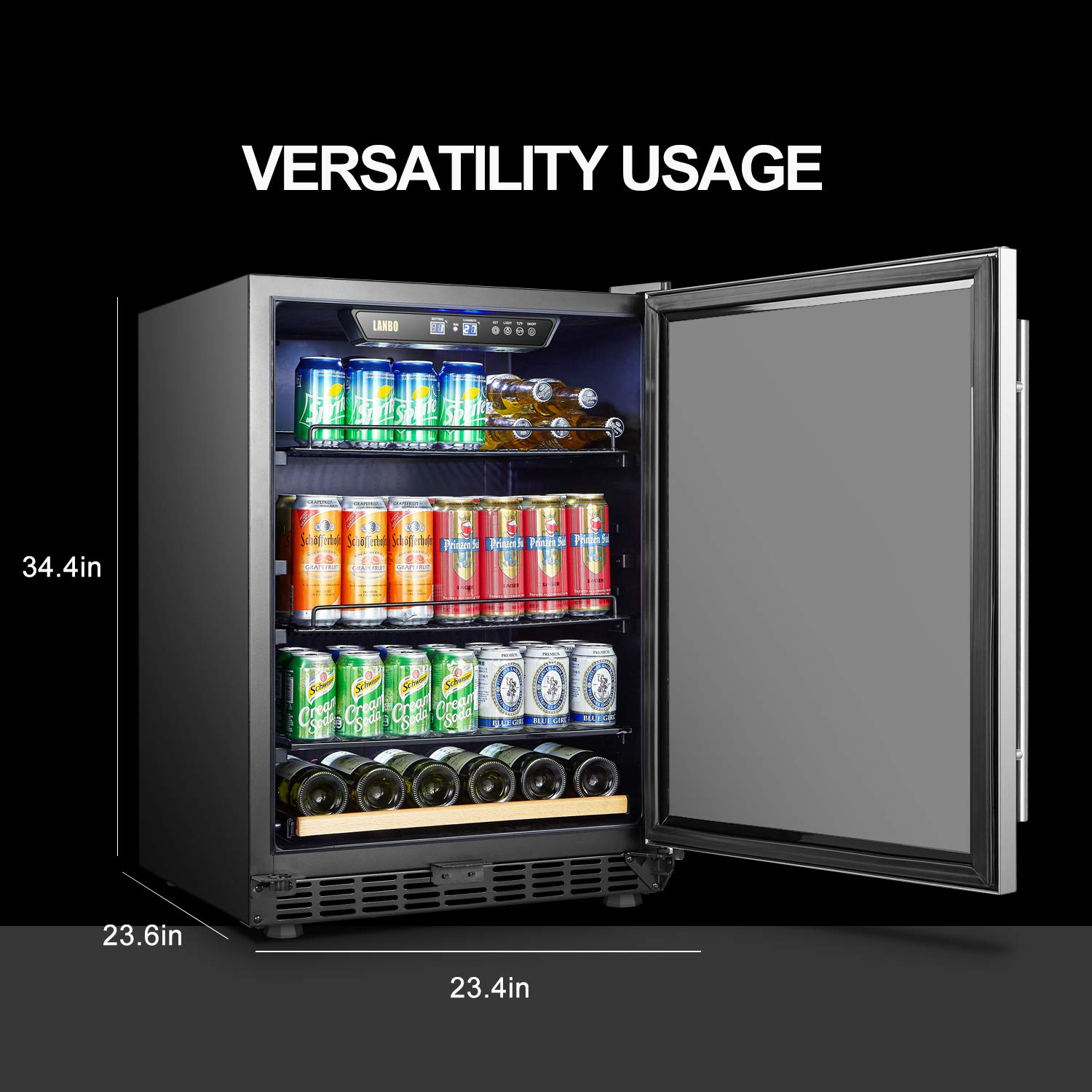 LANBO Beverage Cooler Refrigerator, 110 Cans 6 Bottles Built-in Compressor Drink Fridge with Double-Paned Tempered Glass Door by Lanbo (Image #3)