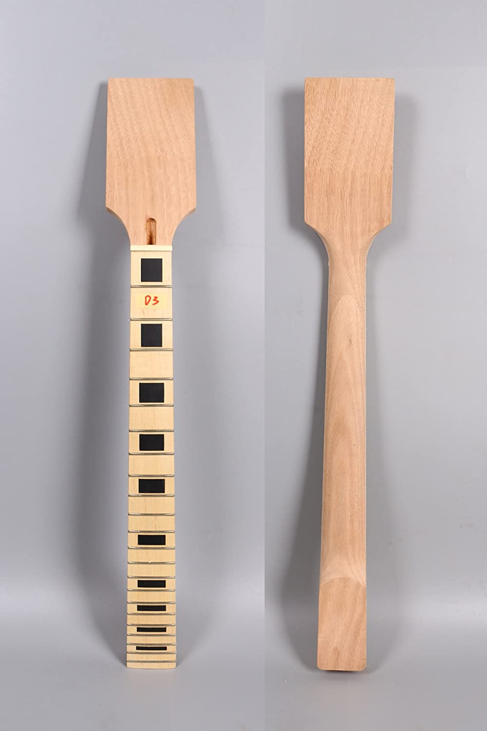 Yinfente Electric Guitar Neck Replacement 22 Fret 24.75 Inch DIY Guitar Paddle head Maple Mahogany wood