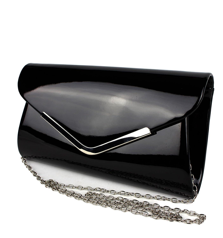 Schompi Vintage Damen Lack Tasche Abendtasche Clutch Bag mit abnehmbarer Schulterkette Kettentasche Farbe:Schwarz