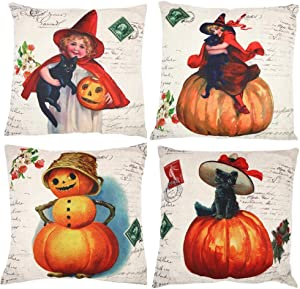 FENGJUN Autumn Pumpkin Thanksgiving Pillow Covers Set of 4, Throw Cushion Pillow Case for Home Decorations Unique Designs Pillowcase for Living Room Sofa