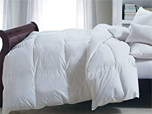 Blue Ridge Home Fashions Deluxe 233 Thread Count Cotton Twill Down Alternative Comforter, Full-Queen, White
