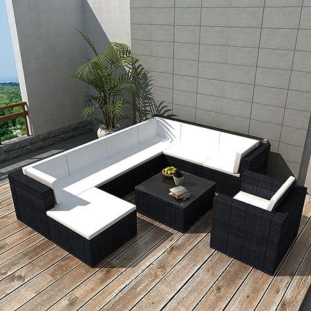Tidyard Conjunto Muebles de Jardín de Ratán 27 Piezas con Cojines,Sofa Jardin Exterior para Patio Balcón o Jardín,Cojines Extraíbles,Poli Ratán Negro: Amazon.es: Hogar