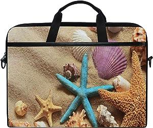 "SLHFPX Laptop Bag Summer Beach Seashells 14"" 15"" Laptop Case Notebook Briefcase Tablet Handbag Sleeve Computer Backpack with Shoulder Strap Handle for Men Women Travel Business School"