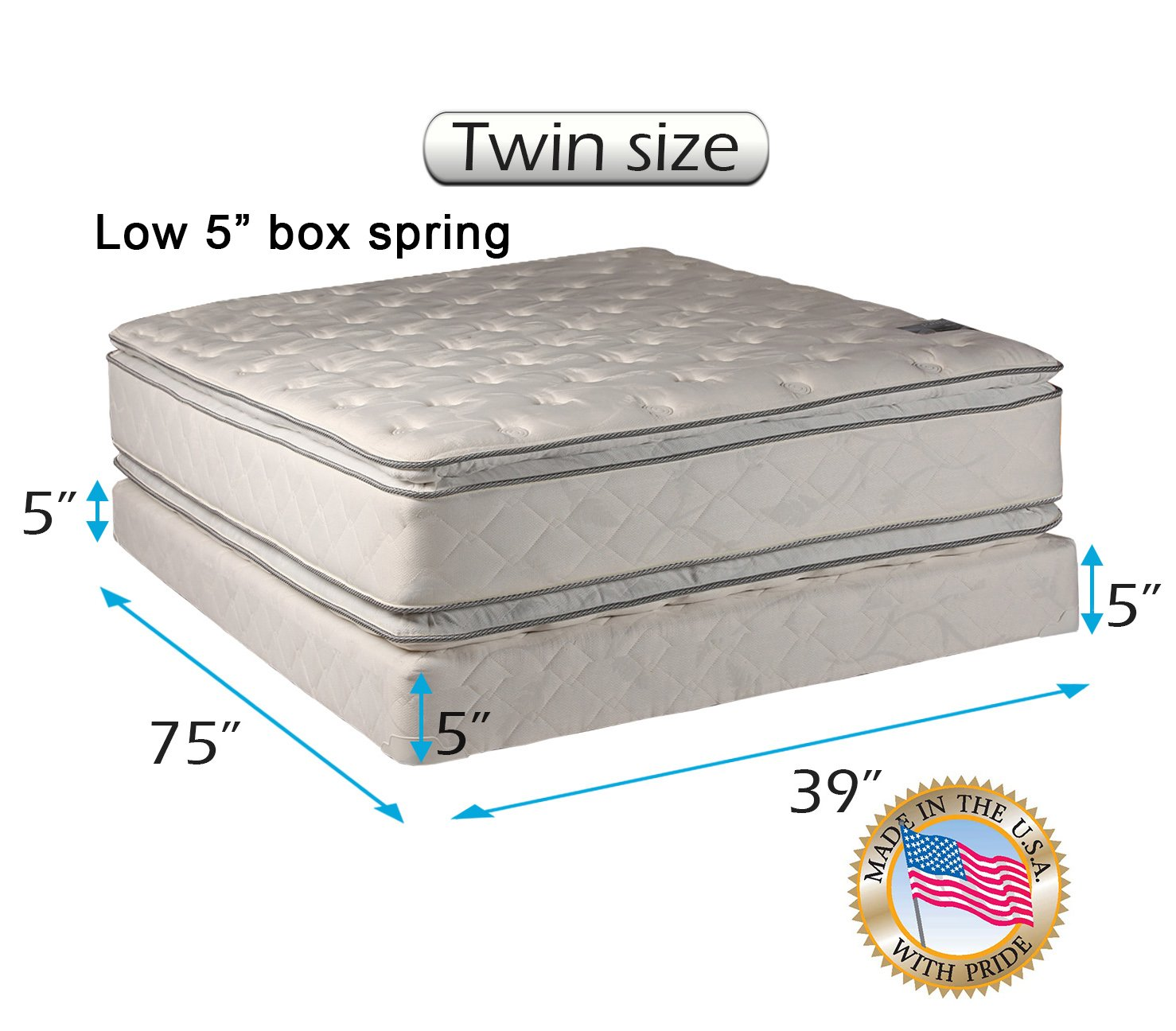 Dream Solutions USA Brand Soft PillowTop Mattress and Low Height Box Spring Set (Twin Size) Double-Sided Sleep System with Enhanced Cushion Support- Fully Assembled, Back Support, Longlasting Quality by Dream Solutions USA