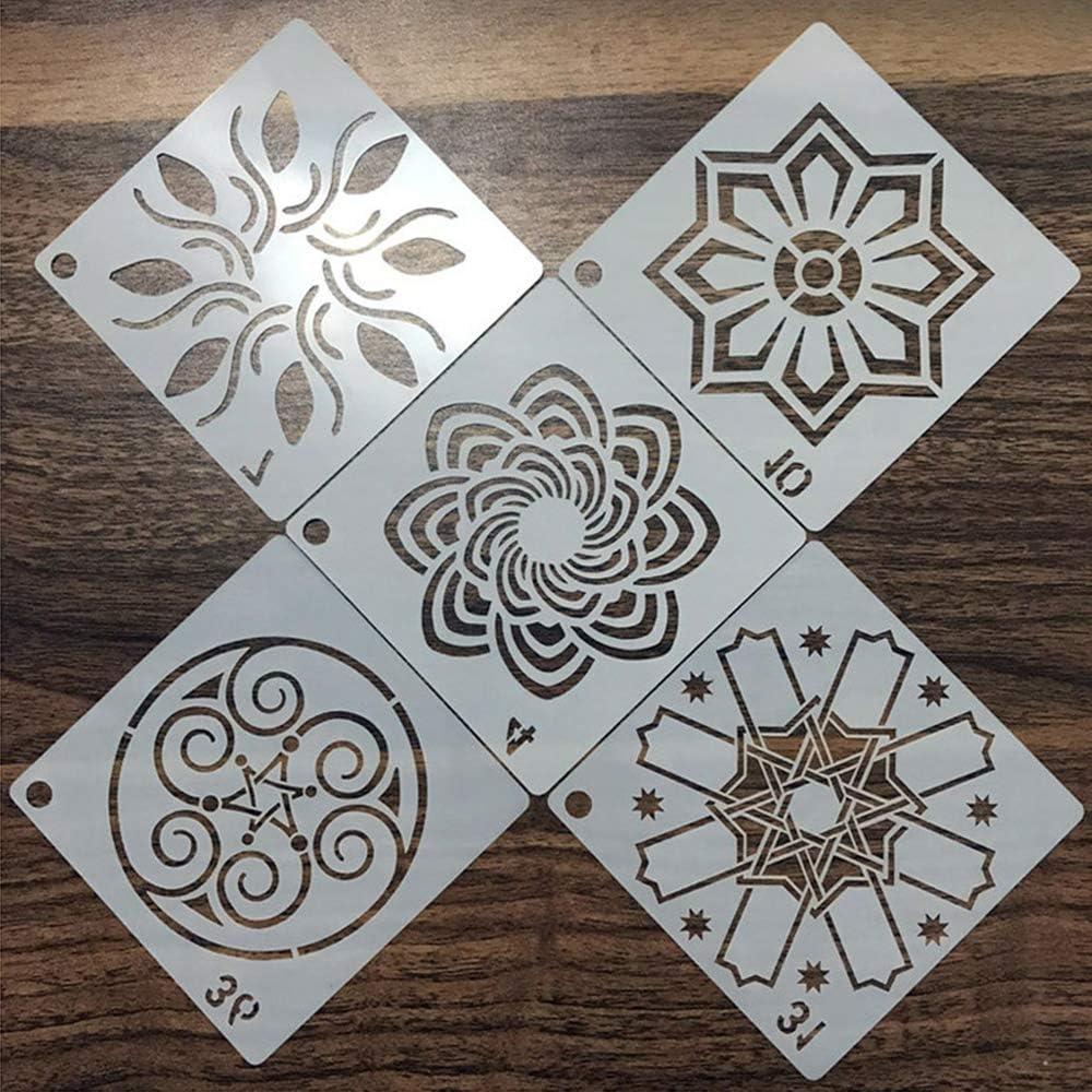 56 Pezzi Stencil per Pittura riutilizzabili Scrapbook darte IWILCS Stencil Mandala Mobili e Pareti Decorazioni Fai da Te Riutilizzabile Stencil per Mandala a Pois per Pittura su Legno