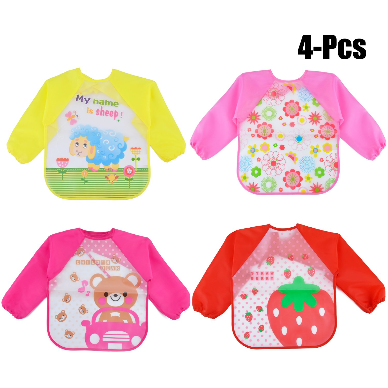 Zoylink 4PCS Long Sleeve Bib Waterproof Bib Cartoon Drooling Bib Feeding Bib for Baby Infants