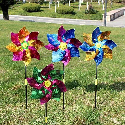 Yifeicx 2 Pcs/Set Wind Spinner Glitter Brillo Windmill Colorido Jardin Decoracion Fiesta Niños Niños Juguetes Pinwheel Juegos Al Aire Libre Regalos: Amazon.es: Jardín