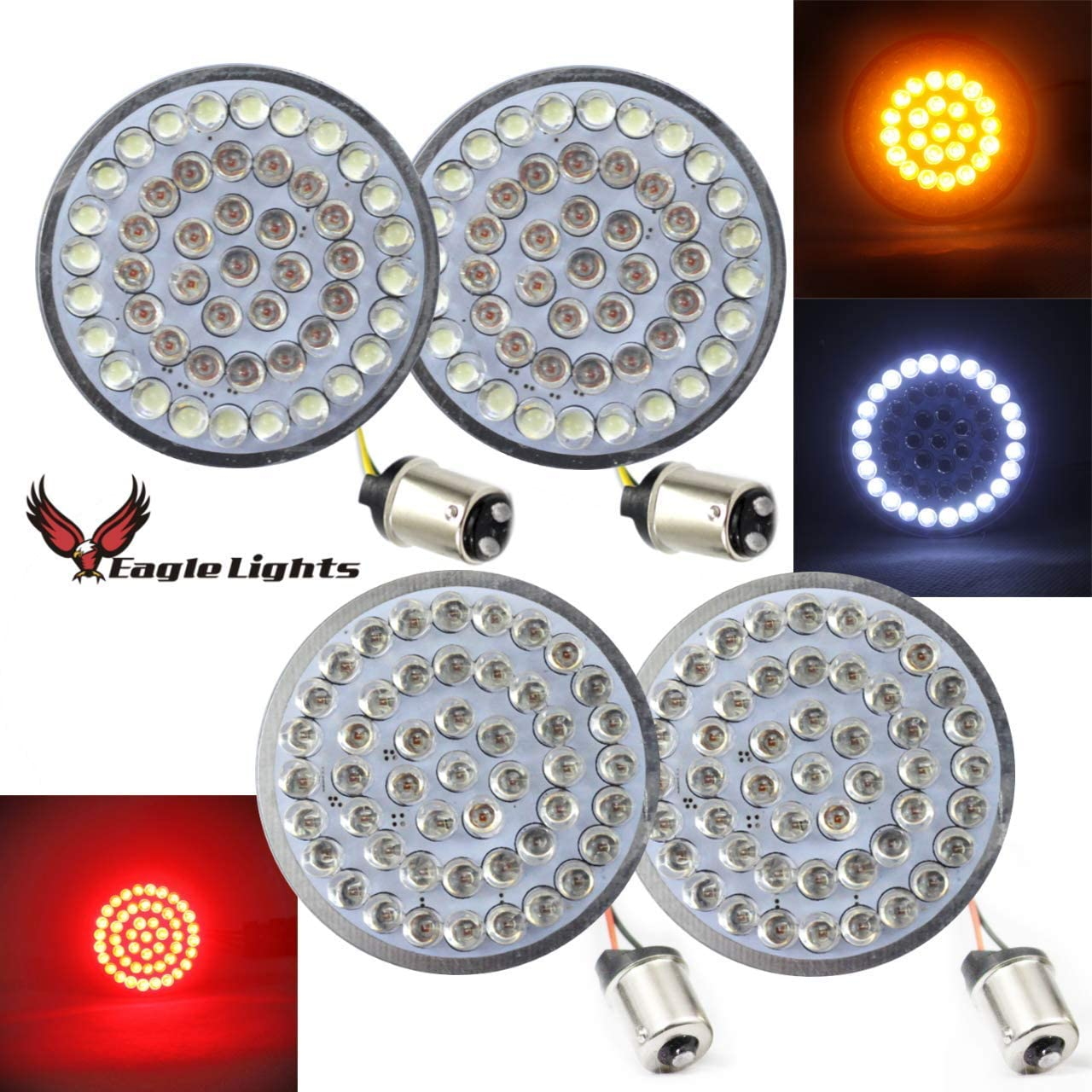 1157 1156 Eagle Lights 2-Inch LED Turn Signal Kit for Harley Davidson Front and Rear Red LED Turn Signal Kit Add Smoked Lenses