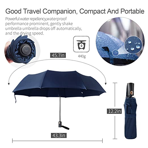Amazon.com: PUERSIT Windproof Compact Travel Umbrella - Portable 10 Finest Ribs 45in with Teflon Coating Large Rain Umbrella-Auto Open Close Folding ...